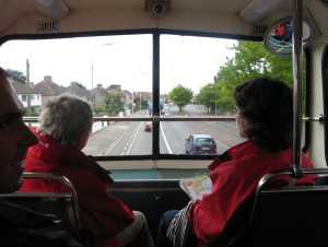 Pohled z autobusu bez řidiče